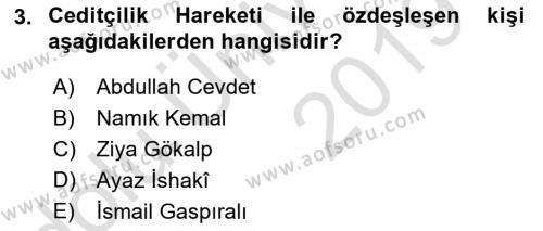 XIX. Yüzyıl Türk Dünyası Dersi 2018 - 2019 Yılı 3 Ders Sınav Soruları 3. Soru