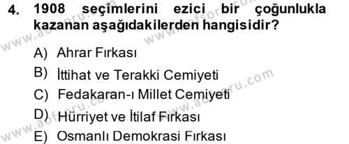Tarih Bölümü 5. Yarıyıl Osmanlı Devleti Yenileşme Hareketleri (1876-1918) Dersi 2015 Yılı Güz Dönemi Dönem Sonu Sınavı 4. Soru
