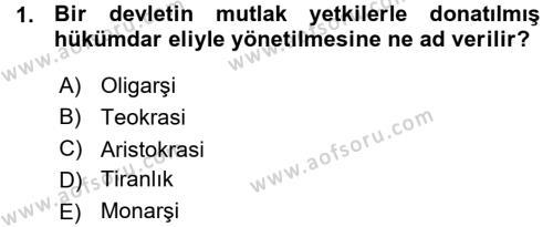 Tarih Bölümü 5. Yarıyıl Osmanlı Devleti Yenileşme Hareketleri (1876-1918) Dersi 2016 Yılı Güz Dönemi Ara Sınavı 1. Soru