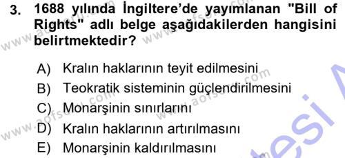 Tarih Bölümü 5. Yarıyıl Osmanlı Devleti Yenileşme Hareketleri (1876-1918) Dersi 2016 Yılı Güz Dönemi Ara Sınavı 3. Soru