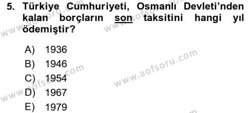 Tarih Bölümü 5. Yarıyıl Osmanlı Devleti Yenileşme Hareketleri (1876-1918) Dersi 2016 Yılı Güz Dönemi Dönem Sonu Sınavı 5. Soru