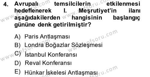 Osmanlı Devleti Yenileşme Hareketleri (1876-1918) Dersi 2014 - 2015 Yılı Ara Sınavı 4. Soru