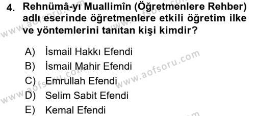 Osmanlı Devleti Yenileşme Hareketleri (1876-1918) Dersi 2016 - 2017 Yılı Dönem Sonu Sınavı 4. Soru
