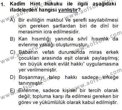 Tarih Bölümü 8. Yarıyıl Hukuk Tarihi Dersi 2015 Yılı Bahar Dönemi Ara Sınavı 1. Soru