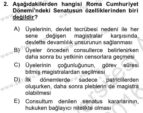 Hukuk Tarihi Dersi 2015 - 2016 Yılı (Final) Dönem Sonu Sınav Soruları 2. Soru