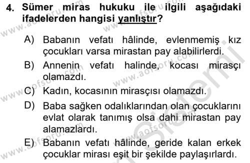 Hukuk Tarihi Dersi 2015 - 2016 Yılı (Final) Dönem Sonu Sınav Soruları 4. Soru