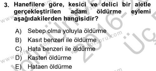 Hukuk Tarihi Dersi 2016 - 2017 Yılı 3 Ders Sınav Soruları 3. Soru