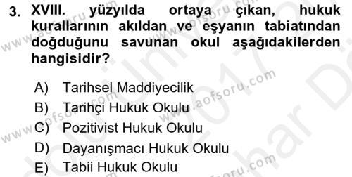 Hukuk Tarihi Dersi 2017 - 2018 Yılı (Vize) Ara Sınav Soruları 3. Soru