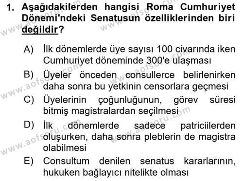 Hukuk Tarihi Dersi 2018 - 2019 Yılı 3 Ders Sınav Soruları 1. Soru