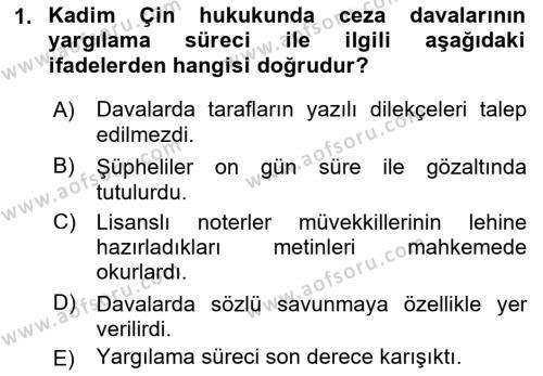 Hukuk Tarihi Dersi 2018 - 2019 Yılı (Final) Dönem Sonu Sınav Soruları 1. Soru