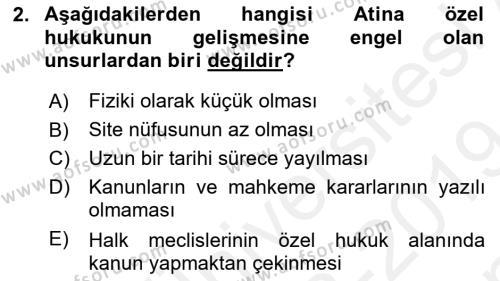 Hukuk Tarihi Dersi 2018 - 2019 Yılı (Final) Dönem Sonu Sınav Soruları 2. Soru