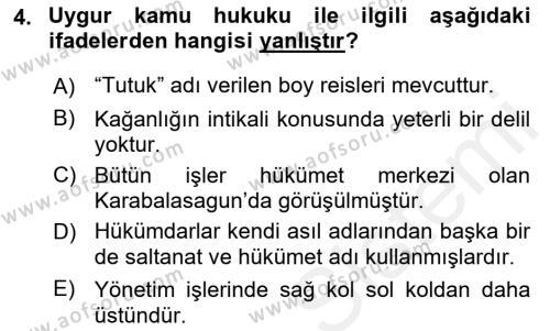 Hukuk Tarihi Dersi 2018 - 2019 Yılı (Final) Dönem Sonu Sınav Soruları 4. Soru