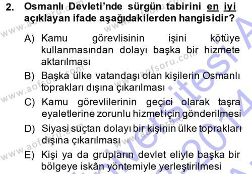 Osmanlı İktisat Tarihi Dersi 2013 - 2014 Yılı Ara Sınavı 2. Soru