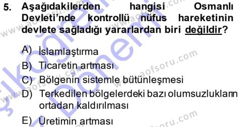 Tarih Bölümü 5. Yarıyıl Osmanlı İktisat Tarihi Dersi 2014 Yılı Güz Dönemi Ara Sınavı 5. Soru