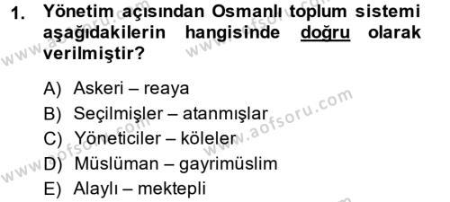 Osmanlı İktisat Tarihi Dersi 2013 - 2014 Yılı Dönem Sonu Sınavı 1. Soru
