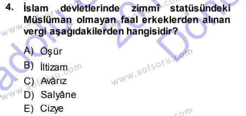 Osmanlı İktisat Tarihi Dersi 2013 - 2014 Yılı Dönem Sonu Sınavı 4. Soru