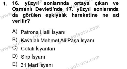 Osmanlı İktisat Tarihi Dersi 2014 - 2015 Yılı Ara Sınavı 1. Soru