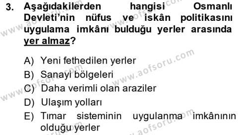 Osmanlı İktisat Tarihi Dersi 2014 - 2015 Yılı Ara Sınavı 3. Soru