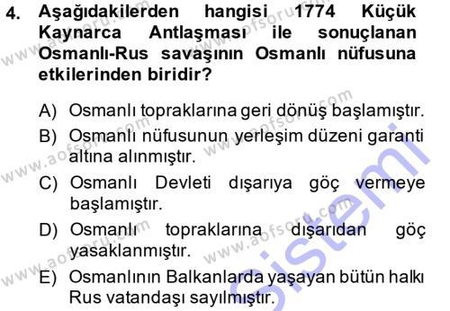 Osmanlı İktisat Tarihi Dersi 2014 - 2015 Yılı Ara Sınavı 4. Soru