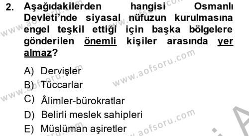 Osmanlı İktisat Tarihi Dersi 2014 - 2015 Yılı (Final) Dönem Sonu Sınav Soruları 2. Soru