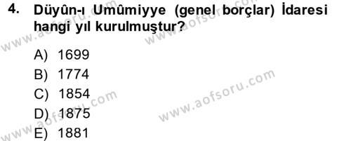 Osmanlı İktisat Tarihi Dersi 2014 - 2015 Yılı (Final) Dönem Sonu Sınav Soruları 4. Soru