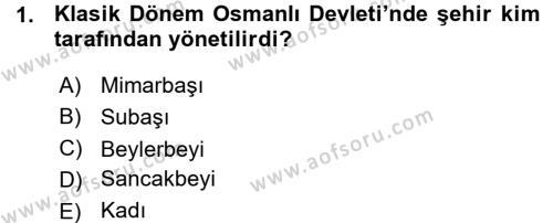 Osmanlı İktisat Tarihi Dersi 2015 - 2016 Yılı Ara Sınavı 1. Soru