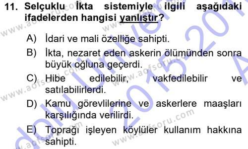 Osmanlı İktisat Tarihi Dersi Ara Sınavı Deneme Sınav Soruları 11. Soru