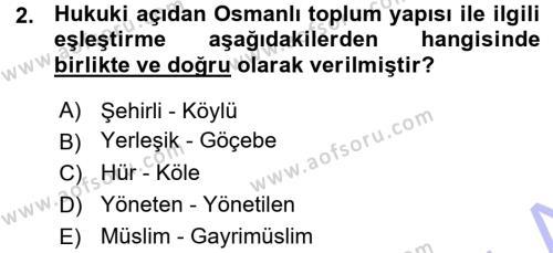 Osmanlı İktisat Tarihi Dersi 2015 - 2016 Yılı Ara Sınavı 2. Soru