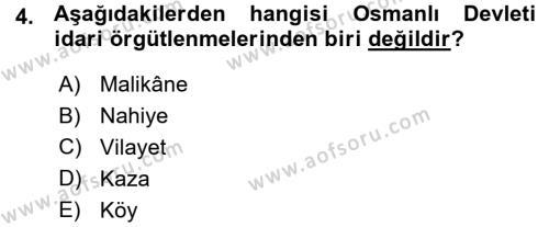 Osmanlı İktisat Tarihi Dersi 2015 - 2016 Yılı Ara Sınavı 4. Soru