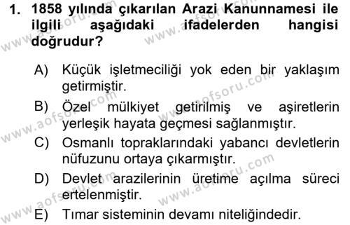 Osmanlı İktisat Tarihi Dersi 2016 - 2017 Yılı Ara Sınavı 1. Soru