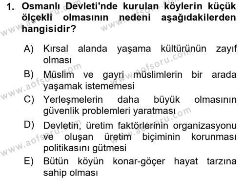 Osmanlı İktisat Tarihi Dersi 2016 - 2017 Yılı Dönem Sonu Sınavı 1. Soru