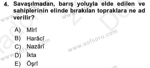 Osmanlı İktisat Tarihi Dersi 2016 - 2017 Yılı Dönem Sonu Sınavı 4. Soru