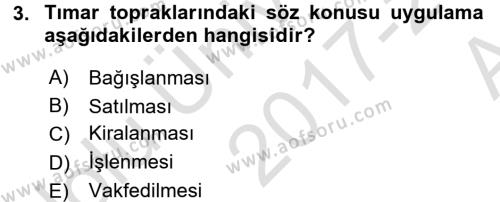 Osmanlı İktisat Tarihi Dersi Ara Sınavı Deneme Sınav Soruları 3. Soru