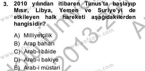 Modern Ortadoğu Tarihi Dersi 2013 - 2014 Yılı Ara Sınavı 3. Soru