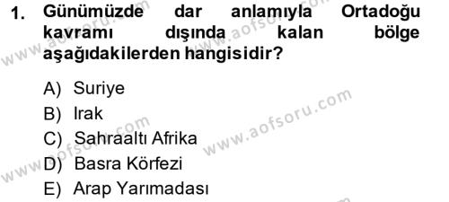 Tarih Bölümü 6. Yarıyıl Modern Ortadoğu Tarihi Dersi 2015 Yılı Bahar Dönemi Ara Sınavı 1. Soru