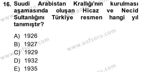 Modern Ortadoğu Tarihi Dersi Ara Sınavı Deneme Sınav Soruları 16. Soru