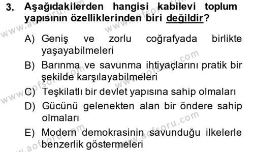 Tarih Bölümü 6. Yarıyıl Modern Ortadoğu Tarihi Dersi 2015 Yılı Bahar Dönemi Ara Sınavı 3. Soru