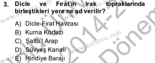 Tarih Bölümü 6. Yarıyıl Modern Ortadoğu Tarihi Dersi 2015 Yılı Bahar Dönemi Dönem Sonu Sınavı 3. Soru