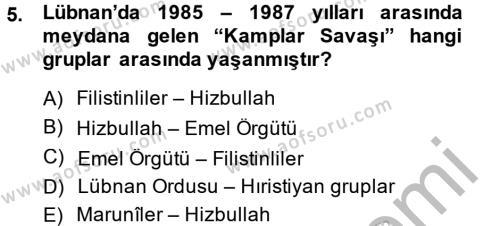 Tarih Bölümü 6. Yarıyıl Modern Ortadoğu Tarihi Dersi 2015 Yılı Bahar Dönemi Dönem Sonu Sınavı 5. Soru