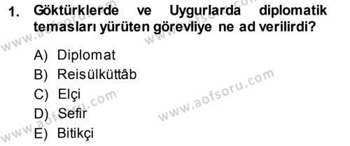 Tarih Bölümü 5. Yarıyıl Osmanlı Diplomasisi Dersi 2014 Yılı Güz Dönemi Ara Sınavı 1. Soru