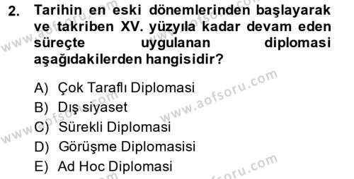 Osmanlı Diplomasisi Dersi 2013 - 2014 Yılı Ara Sınavı 2. Soru