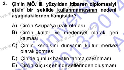 Osmanlı Diplomasisi Dersi 2013 - 2014 Yılı Ara Sınavı 3. Soru