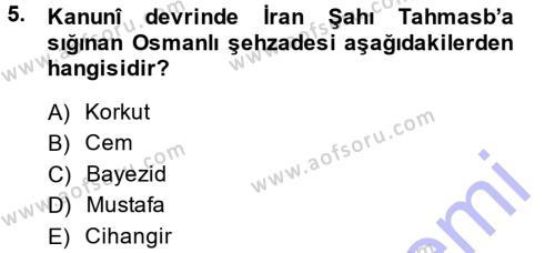Tarih Bölümü 5. Yarıyıl Osmanlı Diplomasisi Dersi 2014 Yılı Güz Dönemi Dönem Sonu Sınavı 5. Soru