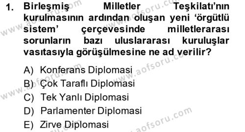 Osmanlı Diplomasisi Dersi 2014 - 2015 Yılı Ara Sınavı 1. Soru