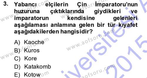 Osmanlı Diplomasisi Dersi 2014 - 2015 Yılı Ara Sınavı 3. Soru