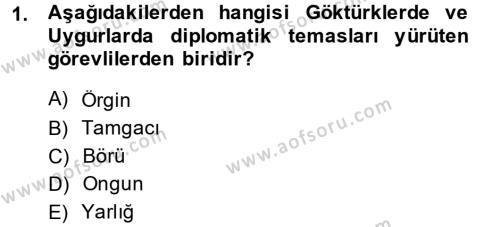 Osmanlı Diplomasisi Dersi 2014 - 2015 Yılı Dönem Sonu Sınavı 1. Soru