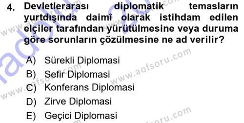Osmanlı Diplomasisi Dersi 2015 - 2016 Yılı (Vize) Ara Sınav Soruları 4. Soru
