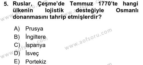 Tarih Bölümü 5. Yarıyıl Osmanlı Diplomasisi Dersi 2016 Yılı Güz Dönemi Dönem Sonu Sınavı 5. Soru