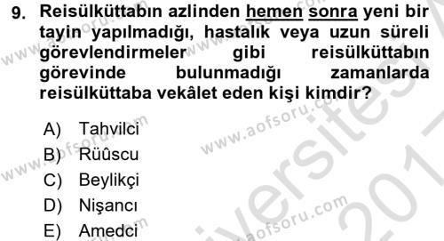 Osmanlı Diplomasisi Dersi Ara Sınavı Deneme Sınav Soruları 9. Soru