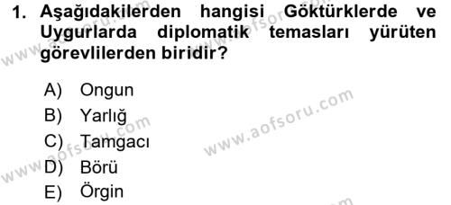 Osmanlı Diplomasisi Dersi 2016 - 2017 Yılı Dönem Sonu Sınavı 1. Soru